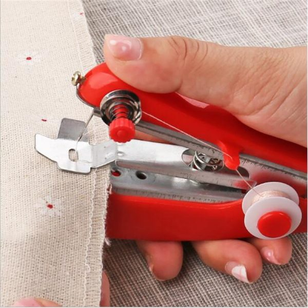 1Pc Red Mini Sewing Machines Needlework Cordless Hand-Held Clothes Useful Portable Sewing Machines Handwork Tools Accessories
