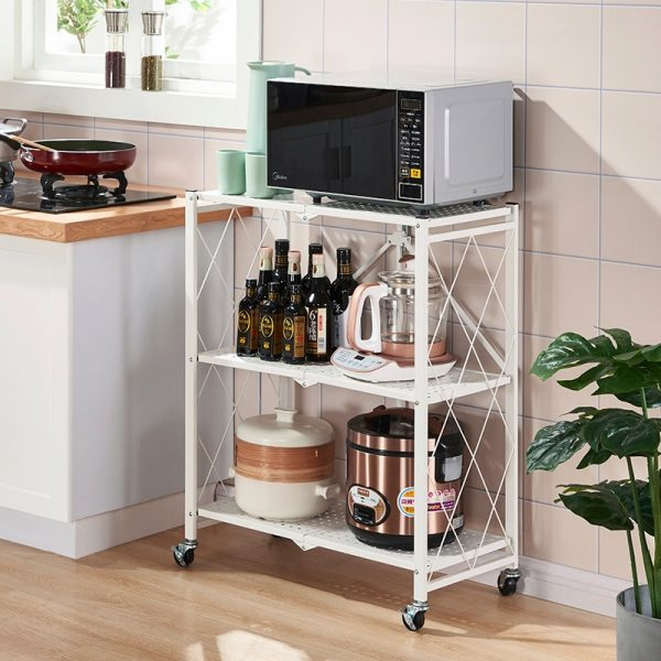 3/4/5 Layer Folding Storage Rack With Wheel Movable For Living room Bedroom Kitchen Home Space Saving Organizer