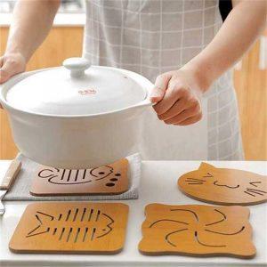 Creative Cartoon Tableware Mat Wooden Tea Cup Mat Bowl Mat Heat Insulation Mat Meal Mat Cup Mat